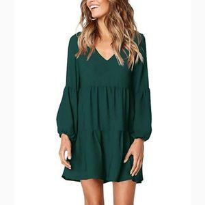 🆕⭐Dark green ruffle tiered dress